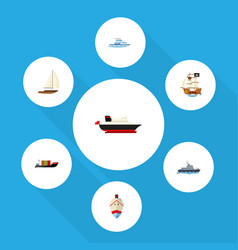 flat icon vessel set of yacht vessel tanker and vector image
