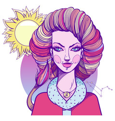 girl symbolizes the zodiac sign leo pastel goth vector image vector image