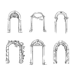 set of arches architectural detail vector image vector image