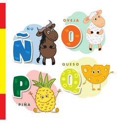 spanish alphabet wildebeest sheep pineapple vector image