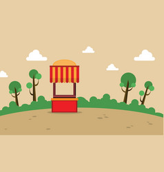 street stall on the hill landscape vector image vector image