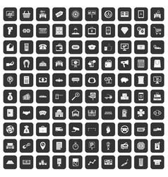 100 coin icons set black vector