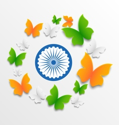 Butterflies in Traditional Tricolor of Indian Flag vector image vector image