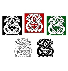 Celtic dogs and wolves vector image