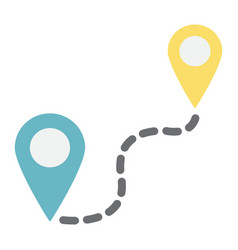 distance flat icon navigation route map pointer vector image vector image