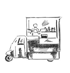 mobile kitchen lunch van black and white sketch vector image