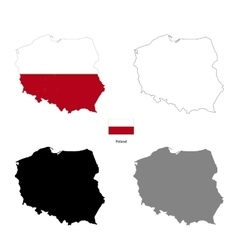 Poland country black silhouette and with flag on vector image
