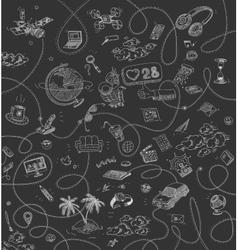 Set Doodle Elements of Online Networking vector image vector image
