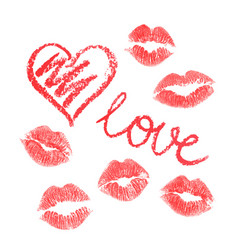 set of lipstick drawn hearts and kisses isolated vector image