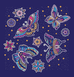 Collection of butterfly and flower tattoo in old vector