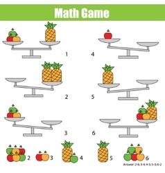 Mathematics educational game for children balance vector