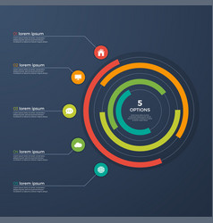 presentation infographic circle chart with 5 vector image vector image