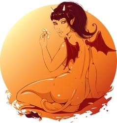 Beautiful girl demon with a flower in the hands vector image