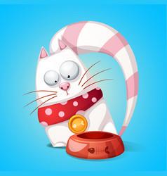funny cute cartoon character cats animal eats vector image