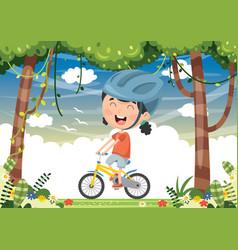 kid cycling vector image vector image