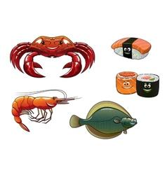 Seafood cartoon characters vector image vector image