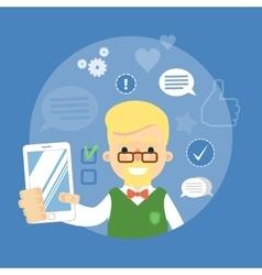 Social media banner Boy with smartphone vector image vector image