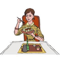 woman eating pasta vector image
