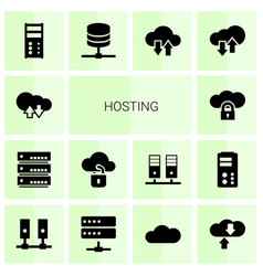 14 hosting icons vector