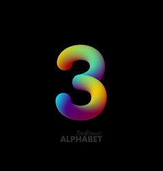 3d iridescent gradient number 3 vector image