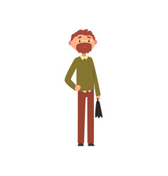 bearded man in casual clothes and glasses standing vector image
