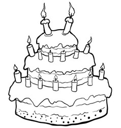 Birthday Cake Line Drawing Vector Images Over 380