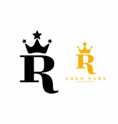 black gold r initial letter with crown logo vector image