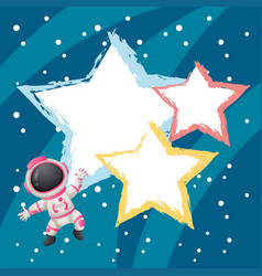 Border template with spaceman in space vector