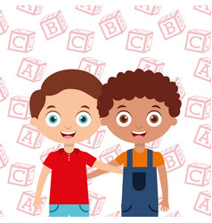 Boys smiling hugging happy kids best friends vector