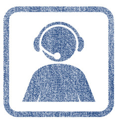 Call center operator fabric textured icon vector