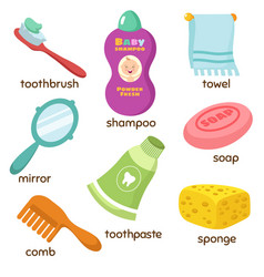 Cartoon bathroom accessories vocabulary vector