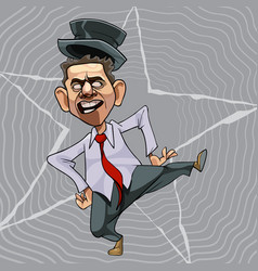 cartoon man in a tie and hat dancing vector image