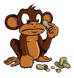 cartoon monkey with peanuts vector image