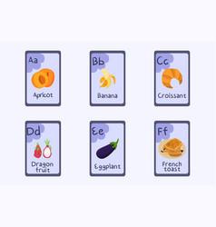 Colorful alphabet flashcard letter a b c d e vector