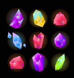 Crystals or gemstones and precious gem stones vector