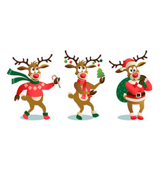 Cute and funny christmas reindeers cartoon vector