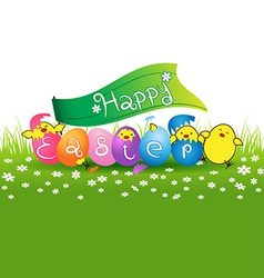 Cute baby chicken and colorful eggs for easter day vector