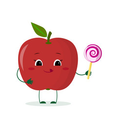 Cute red apple cartoon character with lollipop vector