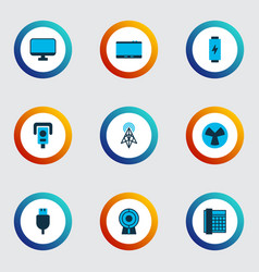 device icons colored set with tablet router vector image