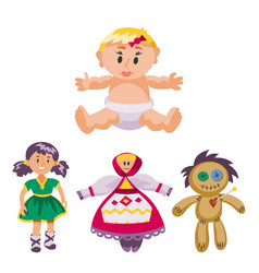Different dolls toy character game dress and farm vector