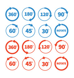 Different rotation angles icon set vector