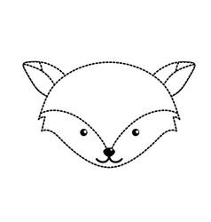 dotted shape cute fox head wild animal vector image