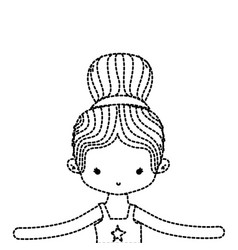 Dotted shape girl dancing ballet with bun hair vector