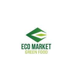 Eco food market letter e icon vector