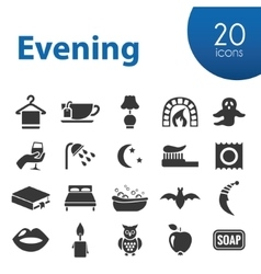 Evening icons vector
