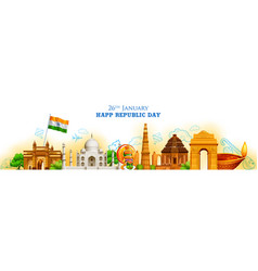 Famous indian monument and landmark for happy vector