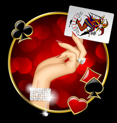 Female hand with joker playing card vector