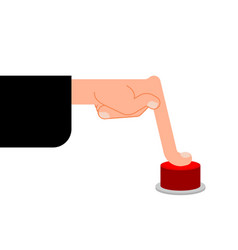 finger presses red button hand press vector image