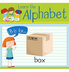 Flashcard letter B is for box vector