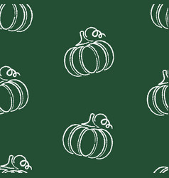 flat chalked pumpkin vegetable seamless pattern vector image